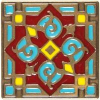 Bronzová dekorace Enameled Orient 1699, 7,5x7,5 cm